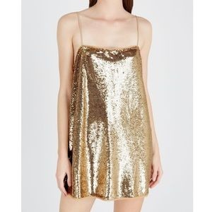 Free People Time to Shine Gold Sequin Slip Dress